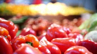 Red bell peppers in grocery vegetable Department of supermarket