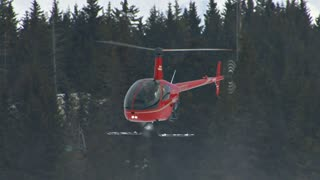 Red Hovering Helicopter By Forest