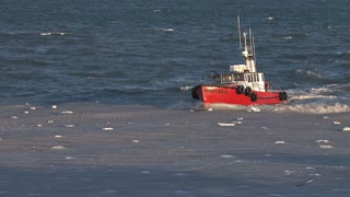 Red Pilot Boat Returning To Harbor