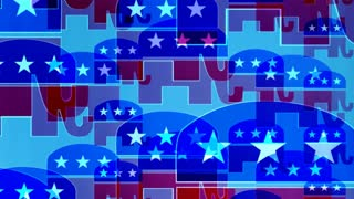 Republican Elephants On Blue