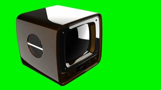 retro tv on green chromakey