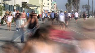 Riding Bikes and Walking In Santa Monica Timelapse