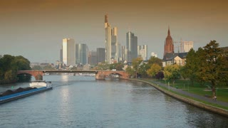 River Main, Frankfurt City Skyline, Hesse, Germany, Europe