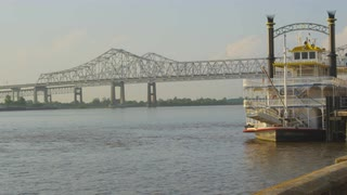 Riverboat Ferry Docked At Greater New Orleans Bridge