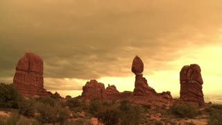 Rock Formations Golden Sky