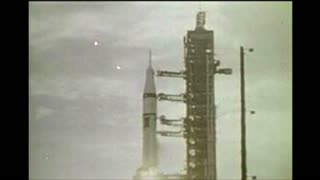 Rocket Lifting Off Ground From Space Center