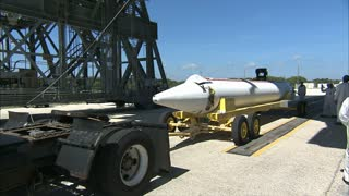 Rocket Wheeled Into Place For Crane