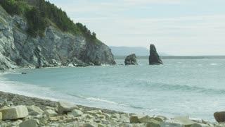 Rocky Shoreline and Sea Stacks in Nova Scotia