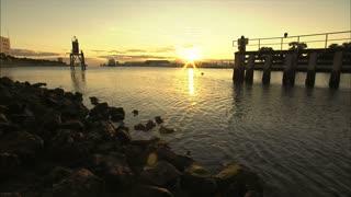 Rocky Shoreline with Sunset
