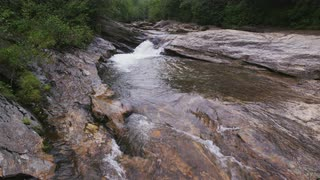 Rocky Stream Shrouded In Mist, Blue Ridge Mountains, Wider Shot
