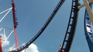 Roller Coaster Flies Down Steep Drop