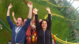 Roller Coaster Riders with Arms Up