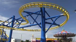 Rollercoaster Going Around a Sideways Loop