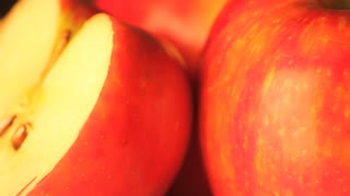 Rotating Apple Half Close Up