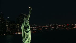 Rotating Around Statue of Liberty and NYC Landscape 3