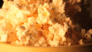 Rotating Bowl of Popcorn Close Up