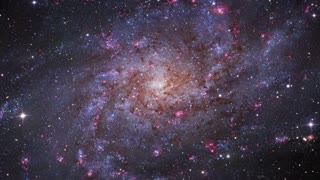 Rotating spiral galaxy, deep space exploration