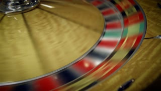 Roulette Table Spinning with Ball in Closeup Shot 5