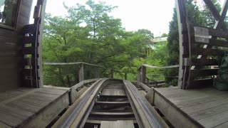 Rounding Turn on Wooden Roller Coaster