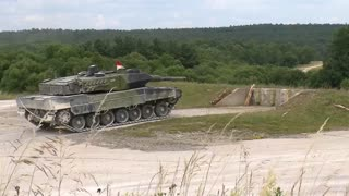 Royal Danish Army Leopard 2 tanks at Grafenwoehr, Germany