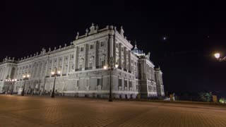Royal Palace of Madrid (Palacio Real de Madrid) timelapse hyperlapse at night. Built between 1738 and 1755 in Baroque and neo-classic styles by King Philip V