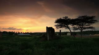 Ruins of African Village at Sunset