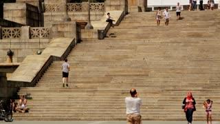 Running Up Museum Stairs