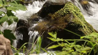 Running Water Flowing Over Mossy Rock