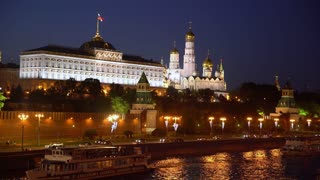 Russia - Moscow, night view of the Kremlin.