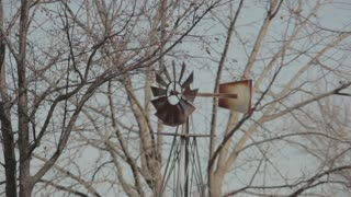 Rusty Windmill Spinning Wildly