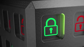 Safety concept animation. Green lock locked safe, red padlock unlocked risk for digital data. Security of information systems and data. 4K seamless loop.