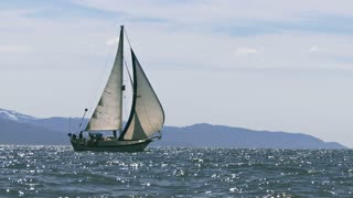 Sail Boat By Scenic Mountain Waters