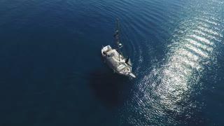 Sail Boat Set Sail In Open Sea