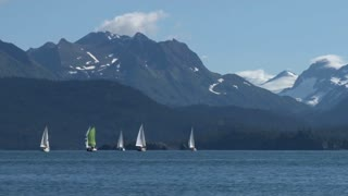 Sail Boats By Scenic Mountain Range