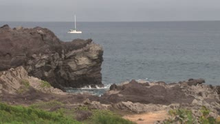 Sailboat in the Pacific by Hawaii Rocks