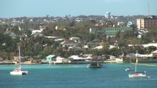 Sailboats Along Island Coast 1