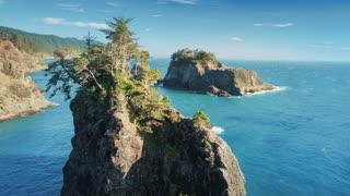 Samuel Boardman Oregon Coast Aerial Pan around Rock Formation