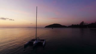 Samui island sunset view from drone an sail boat yacht. Thailand