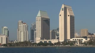 San Diego City Skyline on Waterfront panning left to right