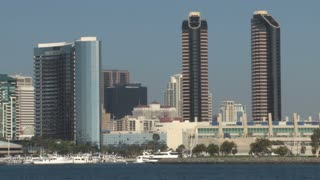 San Diego City Skyline on Waterfront (panning)