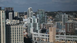 San Diego City Skyline Time Lapse Day with Slow Pan and Zoom