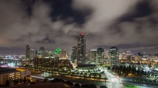San Diego Cityscape Time Lapse Night