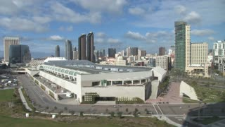 San Diego Convention Center skyline in background daytime