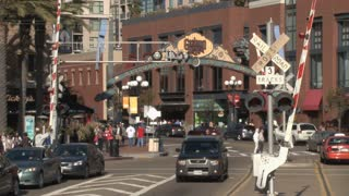San Diego Gaslamp District Sign and Street Action