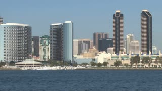 San Diego Harbor Boat Crosses Frame City Skyline across Waterftont