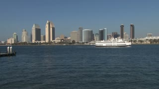 San Diego Harbor Skyline Background Ship Crossing