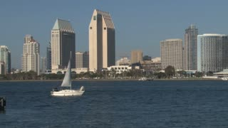 San Diego Harbor Skyline in Background Sailboat