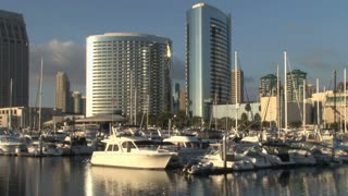 San Diego Harbor with Boats and Yachts, Skyline in Background