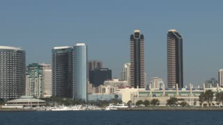 San Diego Skyline on Waterfront panning right to left