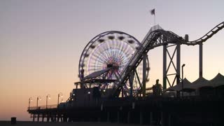 Santa Monica Ferris Wheel and Roller Coaster